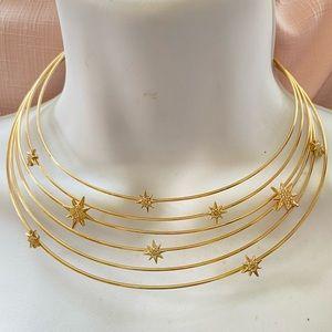 Gold Choker Cuff Collar Necklace